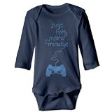 Monsieur Cai baby-girls Girl Boy Kids Just Five More Minutes Long Sleeve Rompers Navy 12 Months