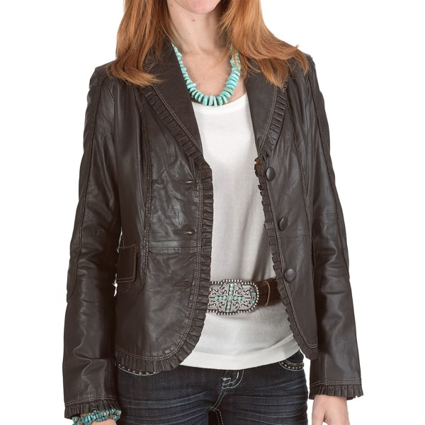 Scully Contrast Stitch Plonge Jacket - Leather (For Women)