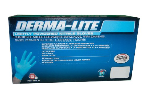 SAS Safety 6609 Derma-Lite Lightly Powdered Disposable Nitrile 5 Mil Gloves, Extra Large, 100 Gloves by Weight