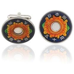 Japan 50 Yen Flower Coin Cuff Links