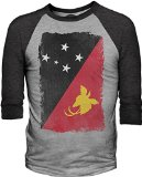 Big Texas Weathered Flag of Papua New Guinea 3/4-Sleeve Baseball T-Shirt, Grey Marle / Charcoal Marle, L