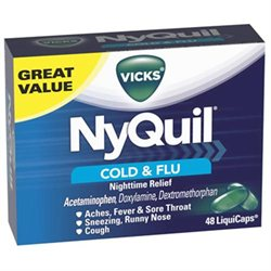 Vicks NyQuil Cold and Flu Night Time Relief Liqui Capsules - 48 ea