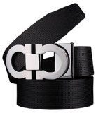 Guan's Proea Men's Smooth Leather buckle belt 35mm Sliver Buckle and Black Leather up to 42in