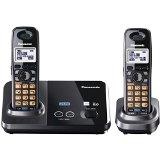 Panasonic KX-TG9322T 2-Line DECT 6.0 Cordless Phone, Metallic Black, 2 Handsets