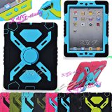 NEW Waterproof Shockproof Dirt Snow Sand Proof Survivor Extreme Army Military Heavy Duty Cover Case Kickstand for Apple iPad Mini Kids Children Gift @XYG (4-black/blue)