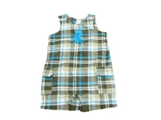 Carters Infant Boys Blue & Brown Plaid Octopus Overalls