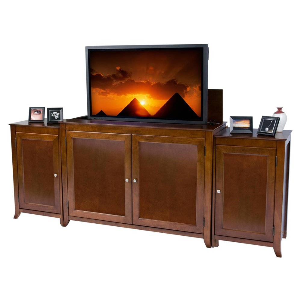 Berkeley Cherry TV Lift Cabinet With Side Cabinets For Flat Screen TV's Up To 55
