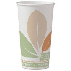 Bare SSPLA Paper Hot Cups, 20oz, White w/Leaf Design, 40/Bag, 15 Bags/Carton