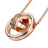JISTL Rose Gold Color Dual Ring Rhinestone Crystal Necklace
