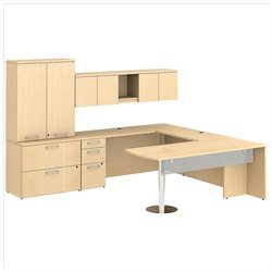 BBF 300 Series 72 U-Shape Peninsula Desk Set Natural Maple