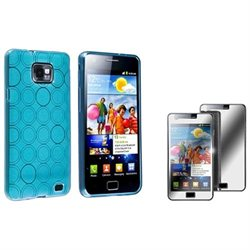 eForCity Blue Circle TPU Rubber Skin Case with Mirror LCD Screen Protector for Samsung Galaxy S II i9100