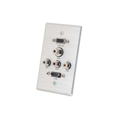 Cables To Go 41040 Decorative - Wall Plate - Hd-15  Rca X 3  Mini-phone Stereo 3.5 Mm  Hdmi - Brushed Aluminum