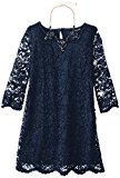 My Michelle Big Girls' Allover Lace Dress, Navy, 12