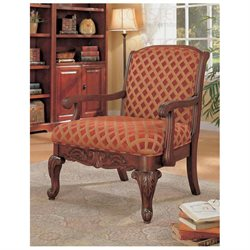 Traditional Decorative Chenille Fabric Accent Arm Chair
