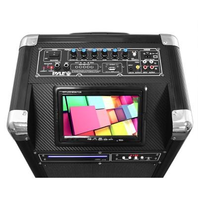 Pyle Pkrk10 Karaoke Vibe Bluetooth Multimedia Pa System With 10'' Woofer  7'' Screen  Multimedia Disc Player  Vhf Wireless Microphone  400 Watt