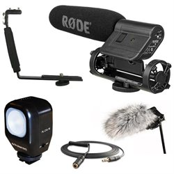 Rode VideoMic with Deadcat, Polaroid Light, Shoe Bracket, and Stereo Mini Cable