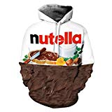 Ocamo Street Style Sweatshirt Pullover Jumpers 3D Nutella Chocolate Printed Hoodie for Men and Women Chocolate S