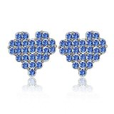 Silver Swarovski Elements Crystal Diamond Accent Heart Shape Fashion Earrings Studs Drop Set for women teenage girls kids children, with a Gift Box, Ideal Gift for Birthdays / Christmas / Wedding---Blue, Model: X18073