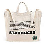 Starbucks New Logo Canvas Anywhere Tote Bag, 2Way Large Shoulder Bag Large-Capacity Shopping Bags