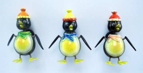 Winter Penguin - Refrigerator Bobble Magnet (Set of 3)