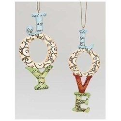 Pack of 12 Inspirational Gifts Joy & Love Word Script Christmas Ornaments 5