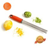 Lemon Zester & Cheese Grater. Comes with Delicious Recipes. Move Over Microplane! Stainless Steel 2-in-1 Grater & Zester Grates Perfect Volumes of Cheese & Easily Zests Lemons, Limes & Oranges. Durable, Chef-quality Grater From a Home Cook Who Creates Easy, Elegant Recipes. Prepare Your Favorite Foods Like Garlic, Ginger, Nuts & Chocolate. 100% Money Back Satisfaction Guarantee.