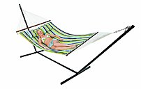 Stansport 30900 Double Cotton Hammock With Stand - Yellow, Blue