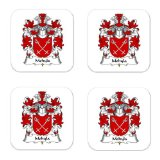Mohyla Family Crest Square Coasters Coat of Arms Coasters - Set of 4