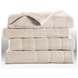 Sunbeam Royal Dreams Twin Quilted Fleece Electric Blanket - Seashell Off-White
