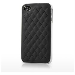 BoxWave iPhone 4 Lush Leather Case - Low Profile, Slim Fit Quilted Leather Snap Shell Cover- iPhone 4 Cases and Covers (Jet Black)