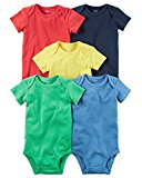 Carter's Baby Boys 5-Pack Short-Sleeve Original Bodysuits (Bright Solid) (6 Months)