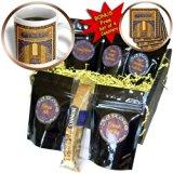 cgb_162525_1 InspirationzStore Vintage Art - Arabian floral abstract - Dark navy blue and matte gold flowery pattern Islamic Islam Arabic Muslim - Coffee Gift Baskets - Coffee Gift Basket