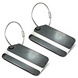 Set of 2 Aluminum Metal Travel Suitcase Identifier Luggage Tags Labels Bag ID Name Address Tag Label with Screw Chain, Black