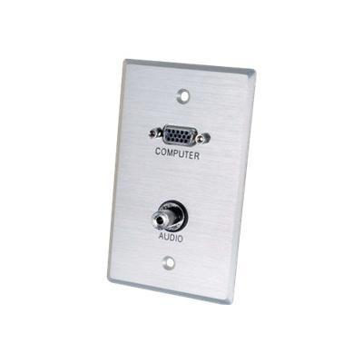 C2g 40505 Vga And 3.5mm Audio Pass Through Single Gang Wall Plate - Brushed Aluminum - Mounting Plate - Hd-15  Mini-phone Stereo 3.5 Mm - Aluminum - 1-gang