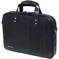 "Mobile Edge Slimline Carrying Case (briefcase) For 14.1"" Ultrabook, Ipad, Tablet Pc - Black, Orange - Koskin Leather - Shoulder Strap - 11.6"" Height X 15"" Width X 2.7"" Depth Meutsbc6"