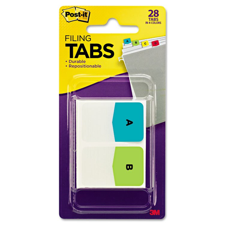 Post-it- Tabs Preprinted File Tabs, 1 x 1 1/2, Letters A-Z, 28/Pack - MMM686ALPHA