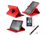 Red 360 Degree Rotating Leather Case Cover with Swivel Stand for Amazon Kindle Fire with Screen Protector   Stylus