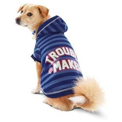 Petco Wag-a-tude Blue Trouble Maker Dog Hoodie, Large