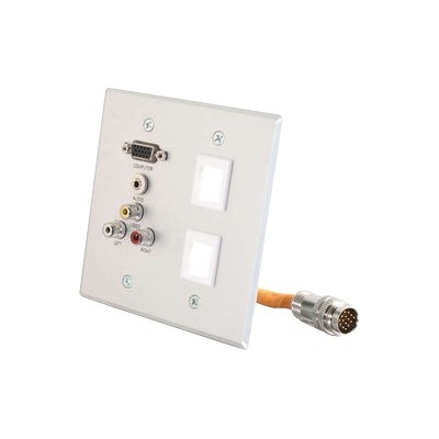 C2g 60028 Rapidrun Double Gang Integrated Hd15   3.5mm   Rca Audio/video   (2) Keystone Wall Plate - Mounting Plate - Hd-15  Rca X 3  Mini-phone Stereo 3.5 Mm -