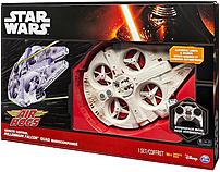 The Air Hogs 778988107805 ultimate millennium falcon takes flight with the power of 4 quad propellers concealed in the ducts of the ship