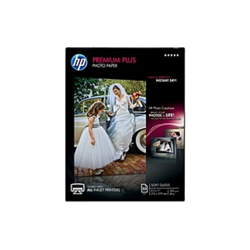 """Hp Premier Plus Inkjet Print Photo Paper - Letter - 8 1/2"""" X 11"""" - 80 Lb Basis Weight - 0% Recycled Content - Soft Gloss - 50 / Pack - White"""