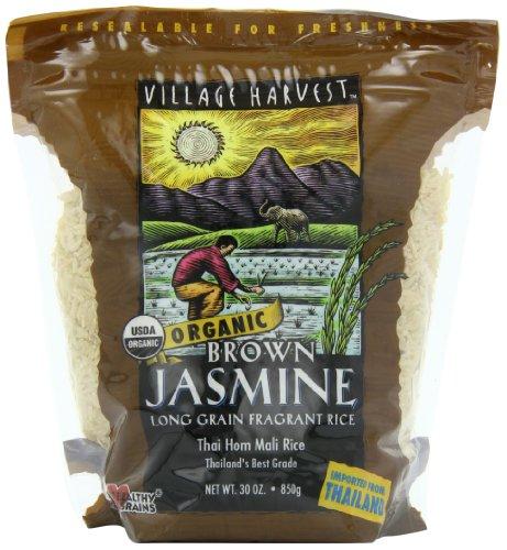 Village Harvest Organic Brown Thai Jasmine Rice, 30-Ounce Bags (Pack of 6)