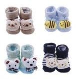 YueLian 4 Sets Baby Newborn Indoor Slipper Socks Bear Booties 2.7''
