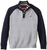 Nautica Little Boys' Long Sleeve Color Block 1/4 Zip Sweater, Ash Heather,Medium(5/6)