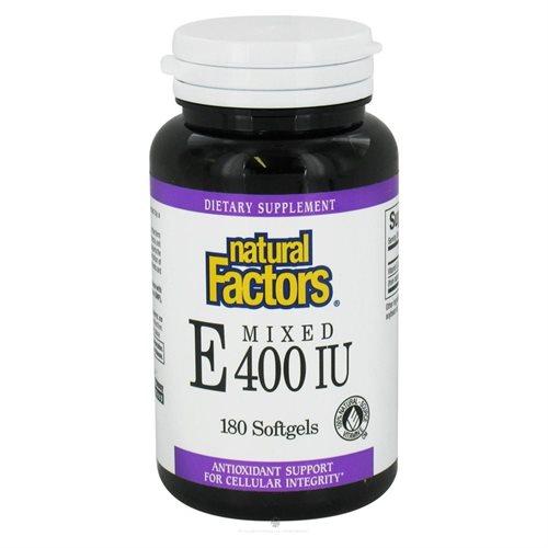 Mixed Tocopherol Vitamin E 400 IU 180 Softgels by Natural Factors