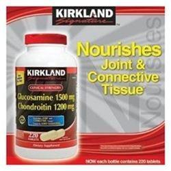 Kirkland Signature Glucosamine HCI 1500mg Chondroitin Sulfate 1200mg 220 Tablets / New Increased Cou