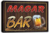 scw3-043757 MAGAR Name Home Bar Pub Beer Mugs Stretched Canvas Print Sign