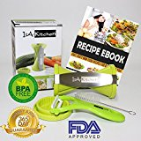 IsA-Kitchen - Premium Spiralizer Spiral Slicer Complete Bundle Vegetable Slicer - Carrot Cucumber Veggie Pasta Maker - Zucchini Pasta Noodle Spaghetti Maker - Green Color