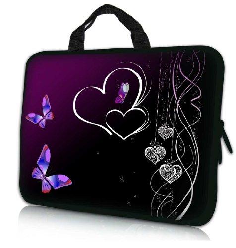 15.6 Inch Butterfly Heart Design Laptop Sleeve Neoprene Case Bag with Hidden Handle handbag for 14 15 15.6