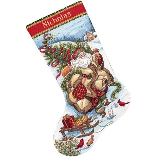 Gold Collection Santa's Journey Stocking Counted Cross Stitc-16 Long